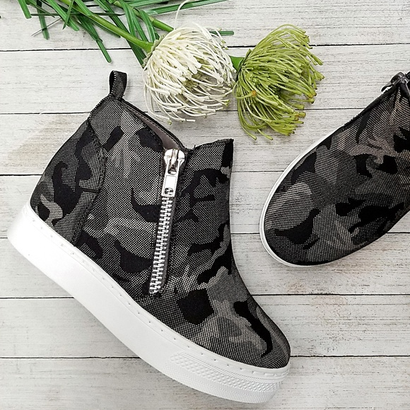 Shoes - New Black Camouflage Hidden Wedge Sneakers